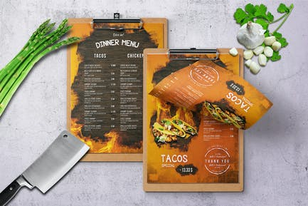 Mexican A4 & US Letter Single Page Food Menu