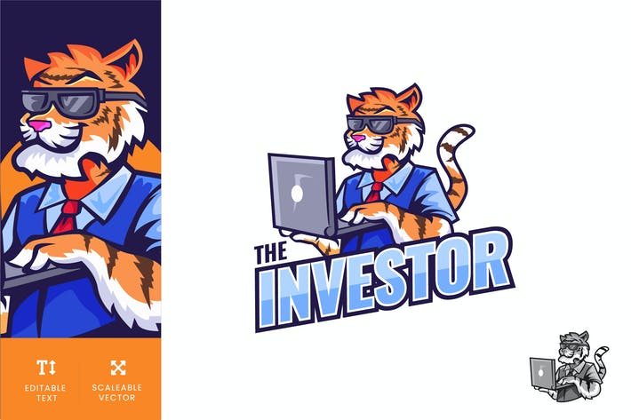 Thumbnail for Tiger Businessman With Laptop Logo Illustration