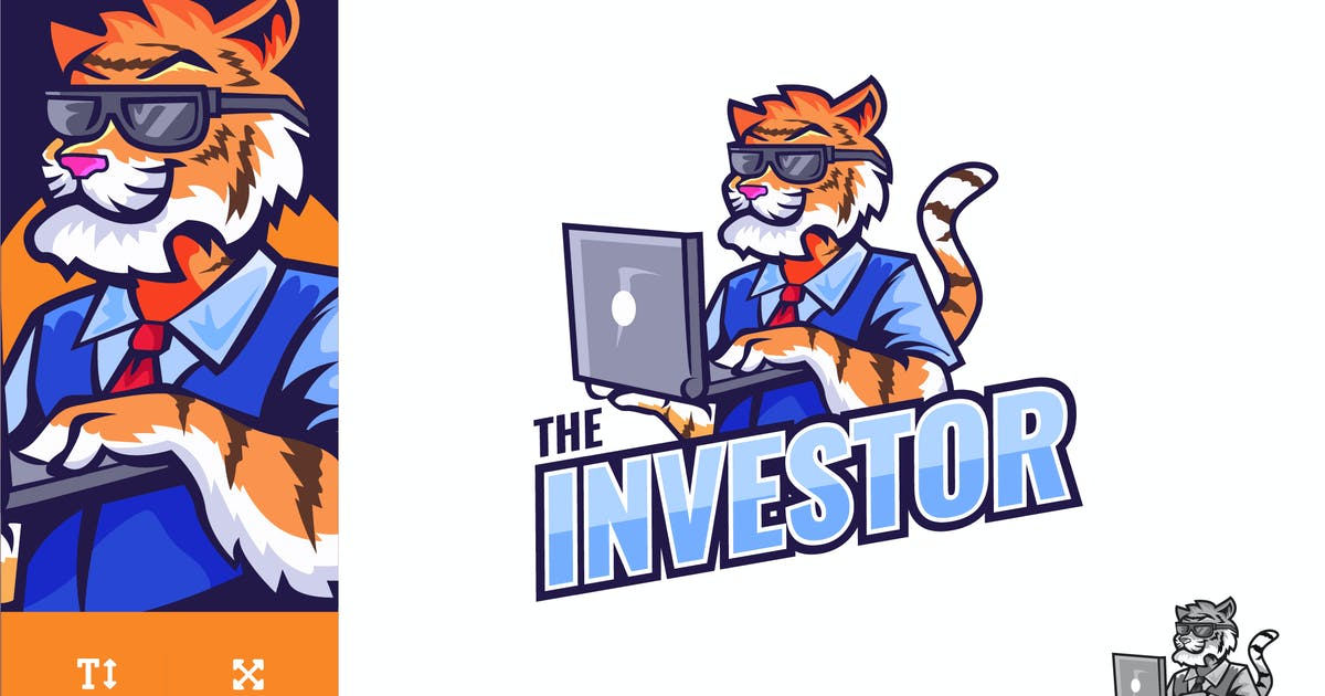 Download Tiger Businessman With Laptop Logo Illustration by naulicrea