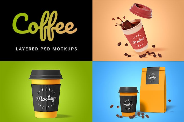 Thumbnail for 3d takeout coffee cup mockup set