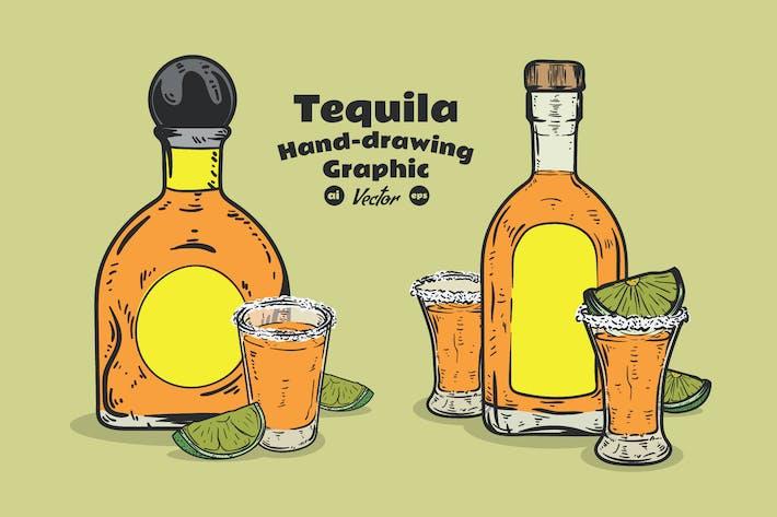 Thumbnail for Tequila Flasche Hand Zeichnung
