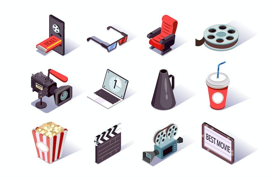 Movie Production Isometric Icons Set
