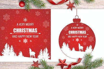 Fondos rojos de Navidad con ciervos
