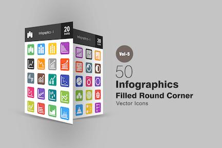 40 Infographics Flat Round Corner Icons