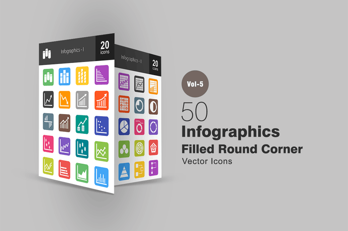 Thumbnail for 40 Infographics Flat Round Corner Icons