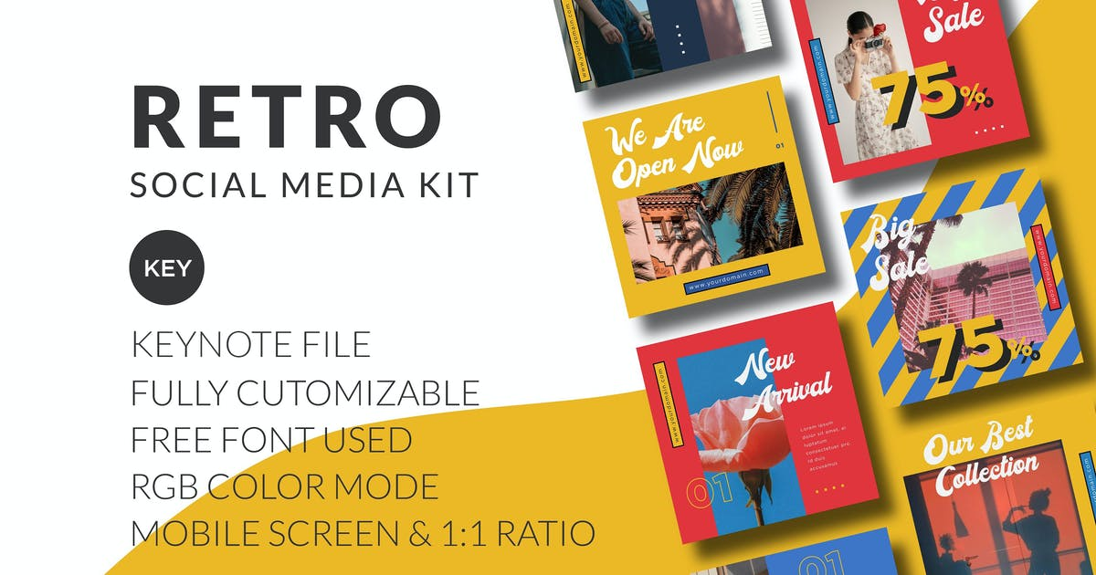 Download Retro Social Media Kit - Keynote by CocoTemplates