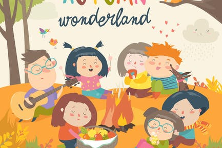 Lindos Amigos sentados alrededor de hoguera en otoño