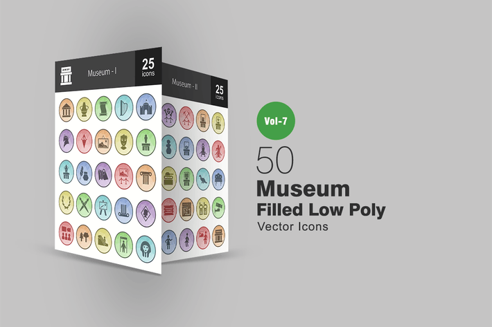 Cover Image For 50 Museum Filled Low Poly Icons