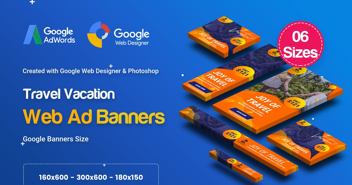 Download C81 - Travel Vacation Banners HTML5 Ad (GWD & PSD) by iDoodle