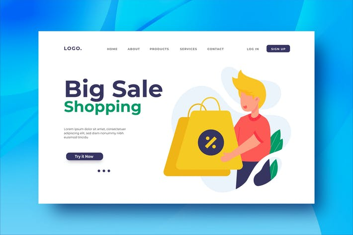 Cover Image For Big Sale Shopping Landing Page Illustration