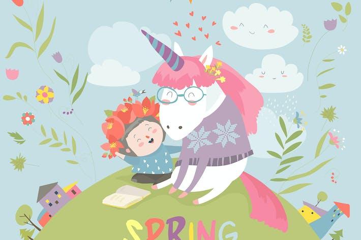 Thumbnail for Cute girl hugging unicorn. Spring wonderland.