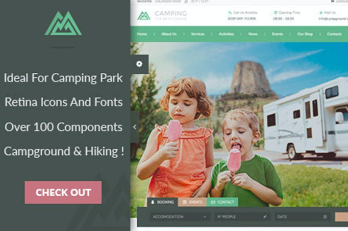 Thumbnail for Camping WordPress Theme
