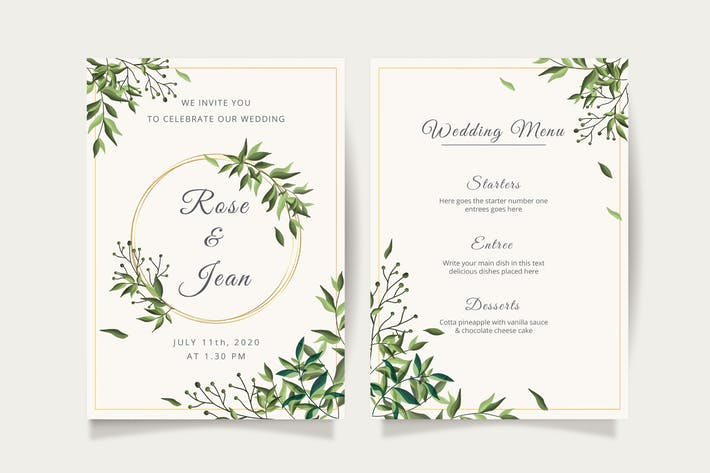 Thumbnail for Floral wedding invitation template