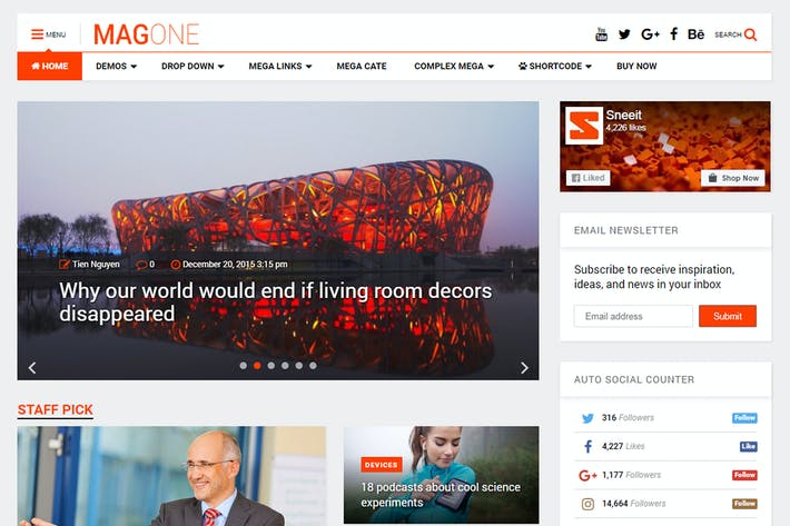 Thumbnail for MagOne -­ Responsive Magazine & News WordPress The