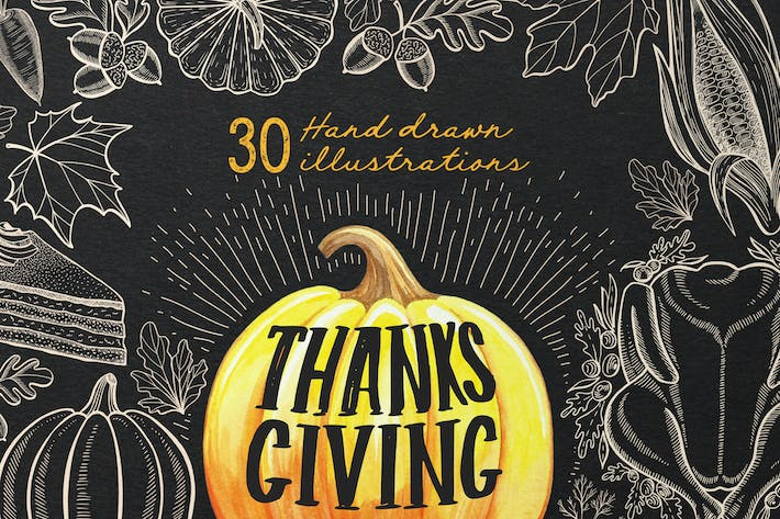Thumbnail for Thanksgiving Food Illustrations