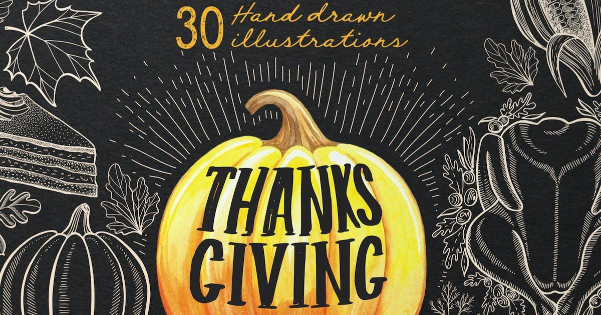 Download Thanksgiving Food Illustrations by BarcelonaDesignShop
