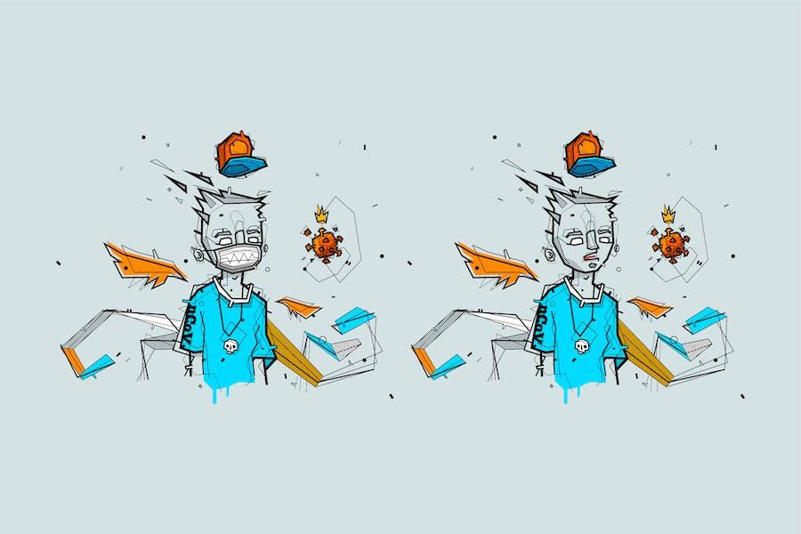 graffiti coronavirus nCoV and medical mask