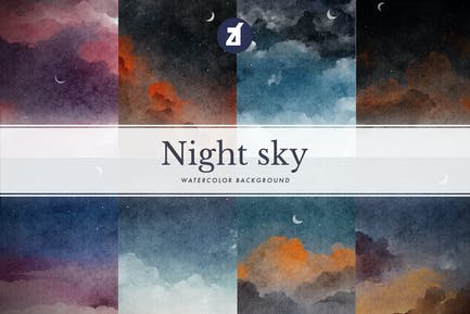 8 Night sky watercolor background