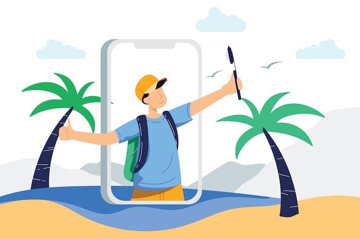 Thumbnail for Illustration Vecteur log de voyage