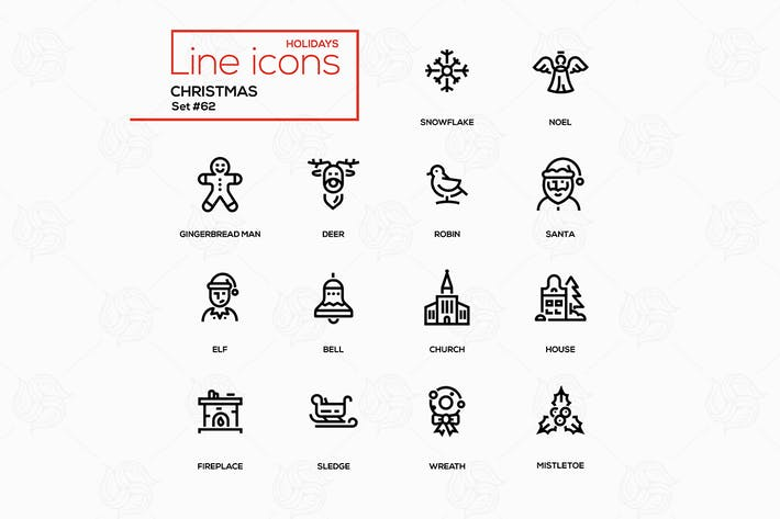 Thumbnail for Holiday season, Christmas - line design icons set