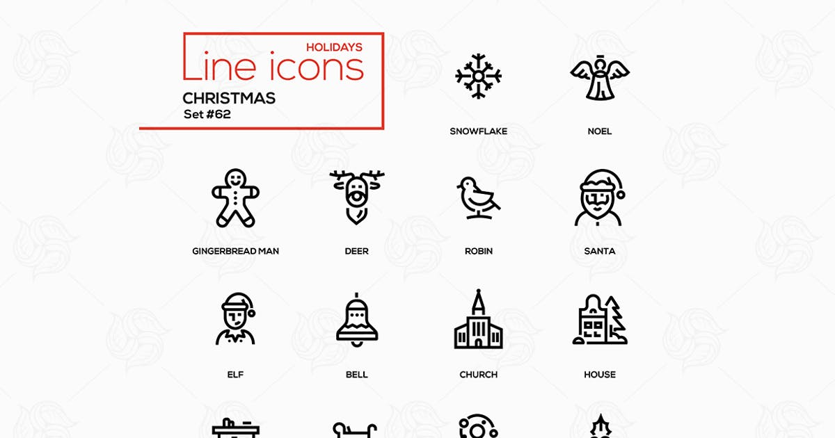 Download Holiday season, Christmas - line design icons set by BoykoPictures