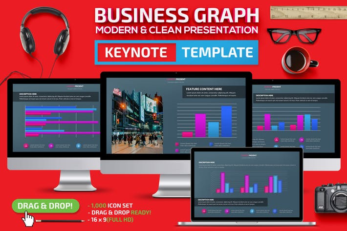 Thumbnail for Business Graph Keynote Template