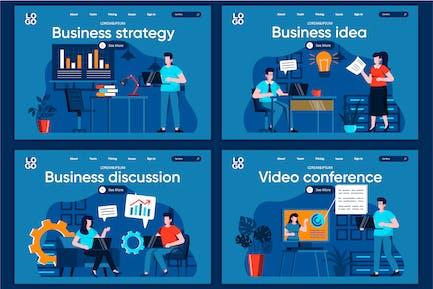 Modèle de page de destination Business Flat Concept