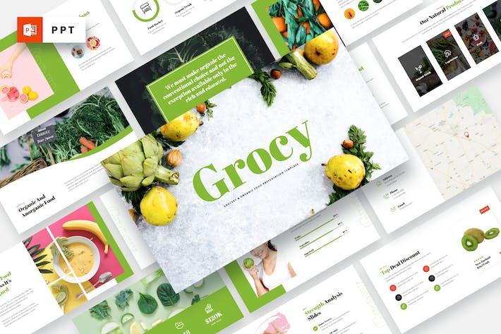 Grocy - Бакалея и органическая еда Powerpoint Шаблон