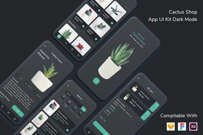 Thumbnail for Cactus Shop App UI Kit Dark Mode