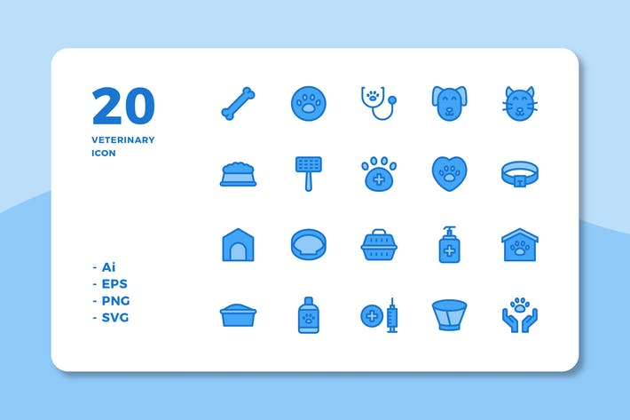 Thumbnail for 20 Veterinary Icons (Lineal Color)