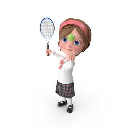 Cartoon Girl Meghan Playing Tennis