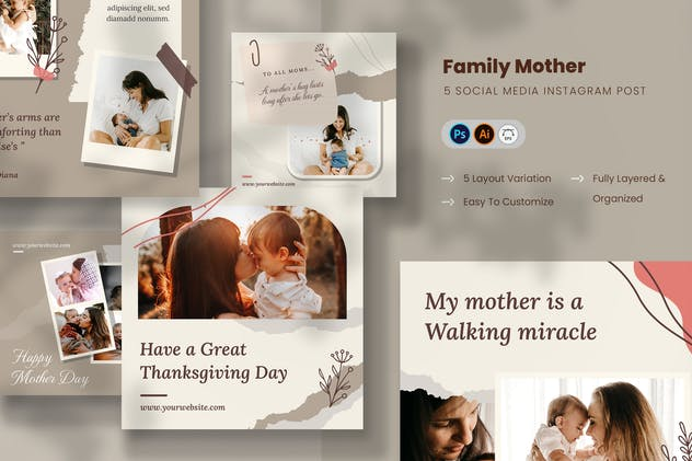 Family Mother Graphic Templates