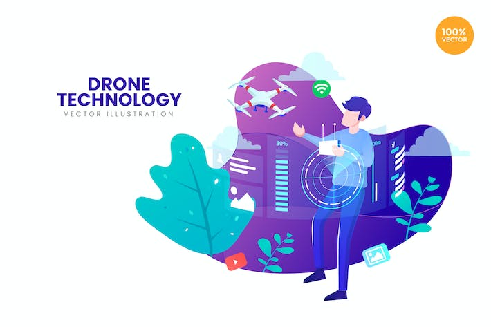 Thumbnail for Drone Technology Vector Illustration Concept