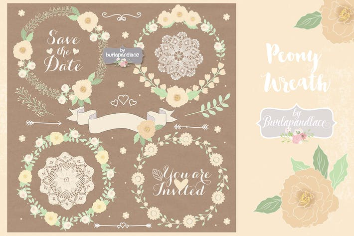 Thumbnail for Peony Wreaths Vector