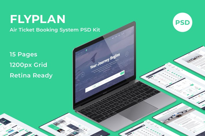 Thumbnail for FlyPlan - Air Ticket Booking System PSD Kit