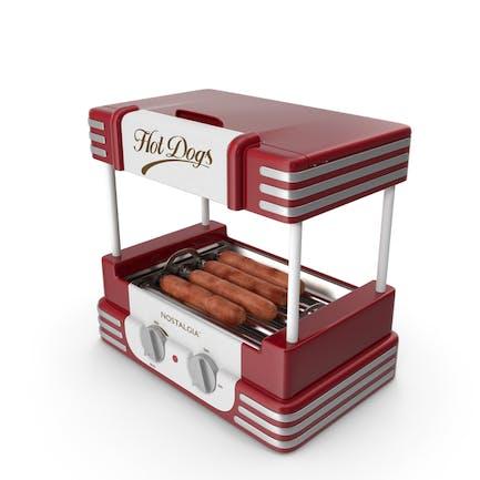 Retro Hot Dog Roller Grill mit Würstchen