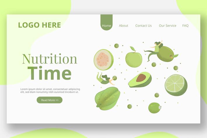 Green Fruit Illustration - Landing Page