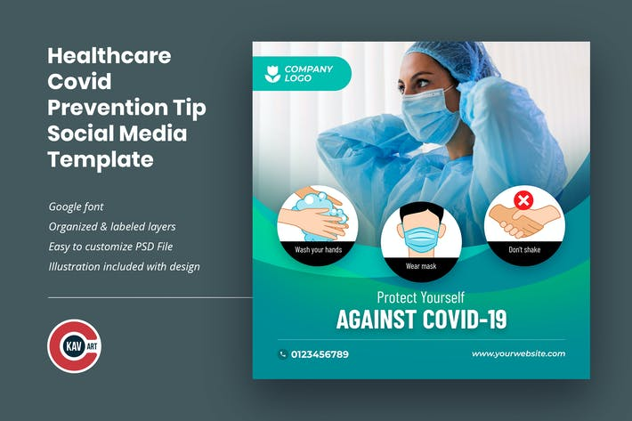 Healthcare Covid Prevention Tip Social Media Post