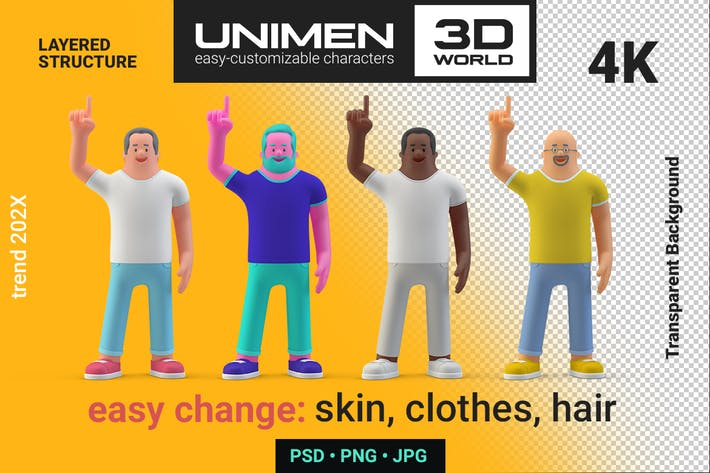 Thumbnail for Man standing Attention Pose 3D Character abstract