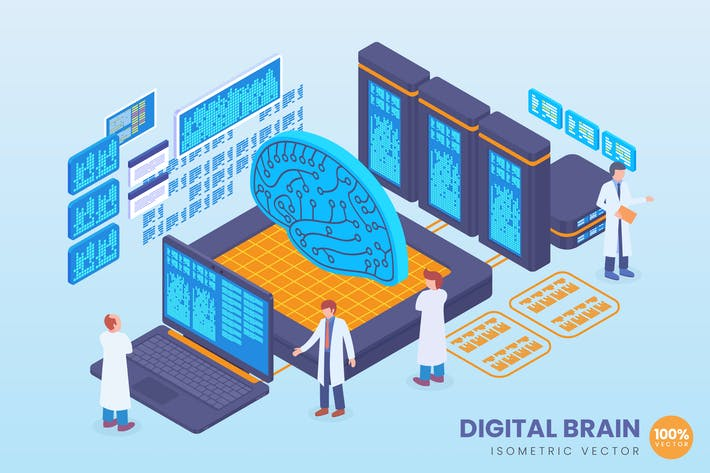 Thumbnail for Isometric Digital Brain Technology Vector Concept