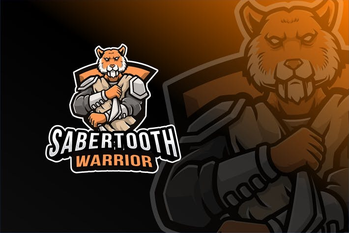 Thumbnail for Sabertooth Warrior Logo Template