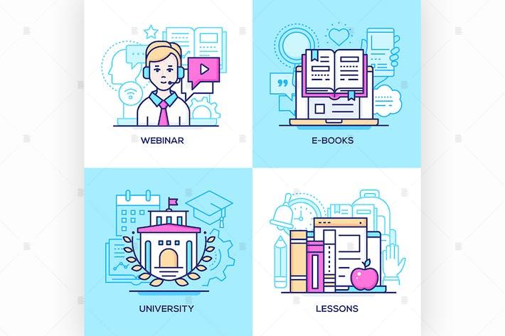 Thumbnail for Online education - set of line illustrations