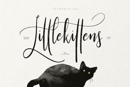 Pequeño Kittens - Fuente de caligrafía con pincel