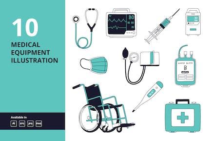 Medizinische Geräte doodle Vektor