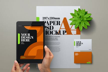 Hands Holding Tablet Mockup A4 Flyer Stationery