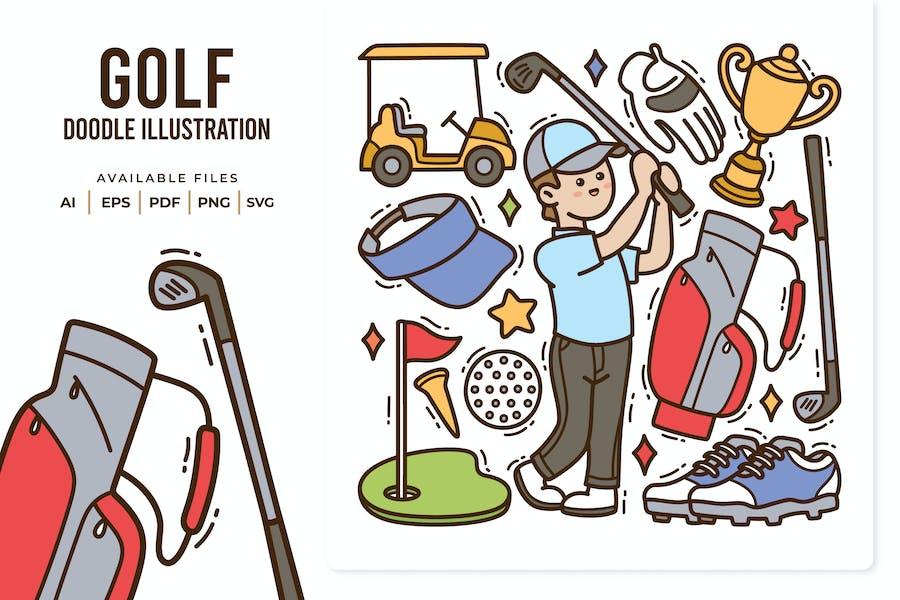 Golf Doodle Illustration
