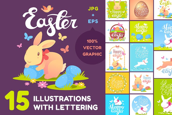 Thumbnail for Happy Easter illustrations