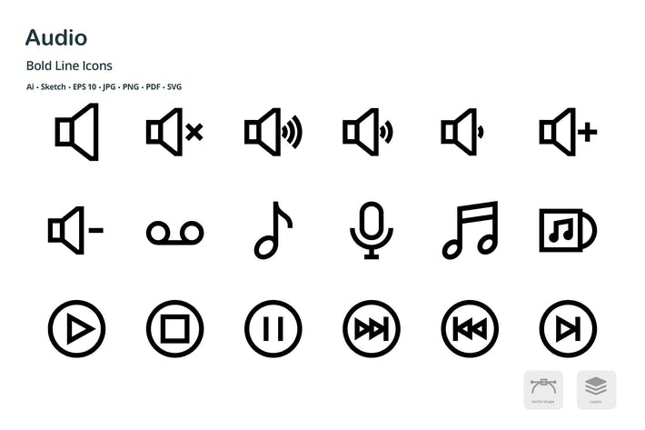 Thumbnail for Audio Mini Bold Line Vector Icons