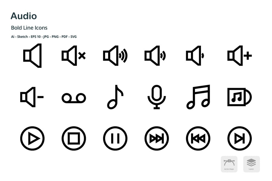 Audio Mini Bold Line Vector Icons