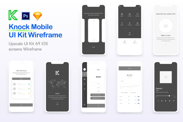 Knock Mobile UI Kit eCommerce Wireframe